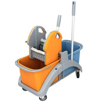 Double bucket cleaning trolley with wringer 2x20 l TS20003