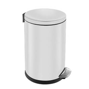 Trash can 3 litres TOP SILENT LUNA steel white