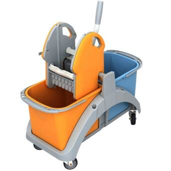 Double bucket cleaning trolley with wringer 2x20l TS20001