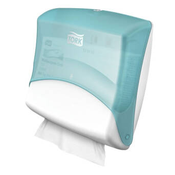Tork Performance wall mounted wiper dispenser white and turquoise