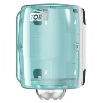 Performance Tork Dispenser Hand Towel Roll centrally metered white and turquoise