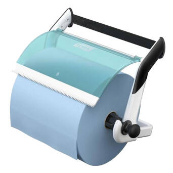 Tork Performance Wall Mount for wiping the large and small rolls of white and turquoise