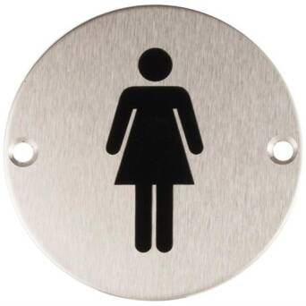 Stainless steel Woman's toilet sign