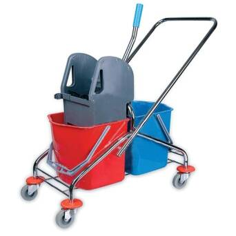Cleaning trolley with double bucket with wringer 2x20l