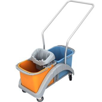 Double bucket cleaning trolley with wringer 2x20 l TS20018