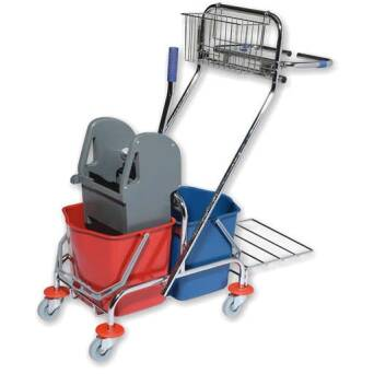 Cleaning trolley with double bucket with wringer 2x17l