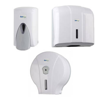 Public restroom accessories set: toilet paper dispenser, paper hand towel dispenser and liquid soap dispenser Faneco POP plastic white