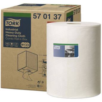Utility wipes in a small roll of Tork Premium 570 White