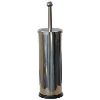 Toilet brush with stand polished steel