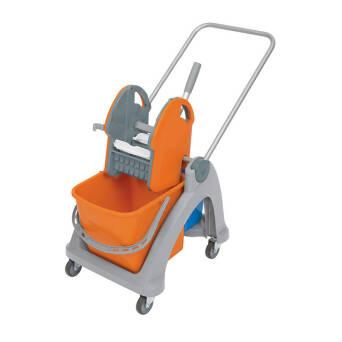 Cleaning trolley containing two buckets with wringer