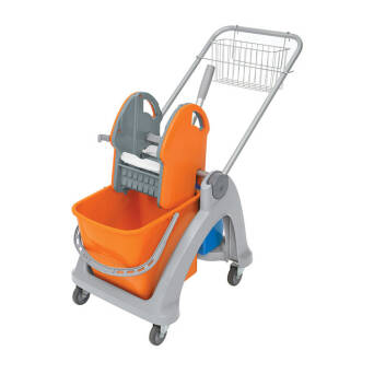 Cleaning trolley with double bucket and wringer basket