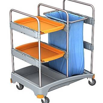 Cleaning trolley with shelves & trash bag TSZ0013