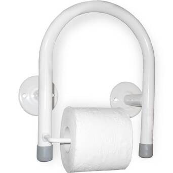 Handrail for disabled with toilet paper holder white steel