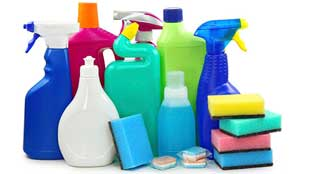 Pictograms and symbols of cleaning supplies
